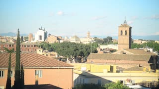 Rome panorama of evening golden city