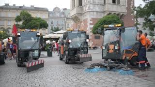 Street Cleaning Washing Machines on Market Square Krakow Poland