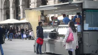 street food stall in the center of Milan