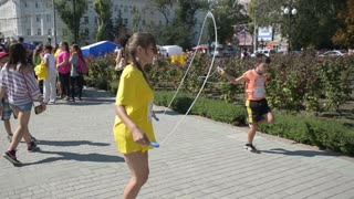 street workout festival - children jump on the rope