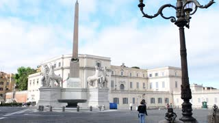 Streets of Rome antique and modern statues and columns