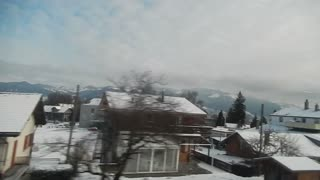 Swiss Alps in winter - the view from the train