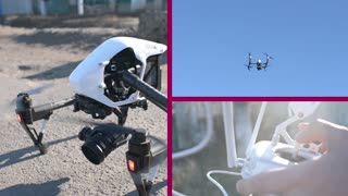 The pilot flying drone quadrocopter control it with a joystick - collage