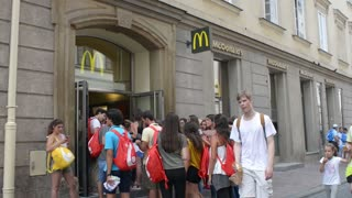 Tourists lined up to go to McDonald's - Krakow Poland
