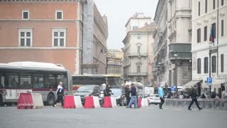Traffic along the street of the central part of Rome Italy