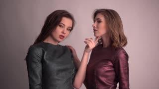 Two girls Models posing for Fashion Photo Session Studio