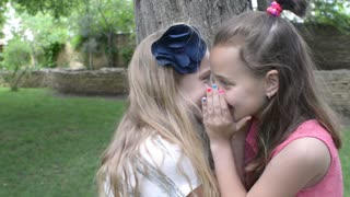 two girls whisper in the ear of a secret - a picnic in the park