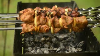 A Cook grilled Meat roasting on a Skewer on a Street Food Festival