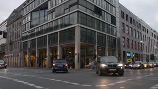 Berlin City Centre evening Traffic in Night Lights