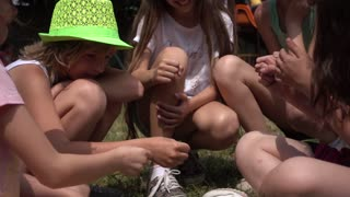 Children Girls on Playground play clapping hands counting game