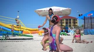 Children Play Run on the Summer Beach Sand