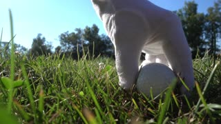 Close-up of a Ball - Old Senior Business Man with white Beard Playing Golf