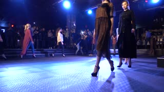Fashion Show Slender Young Girl Model Walking On A Catwalk