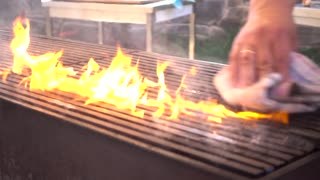 Fire on Grill Barbeque