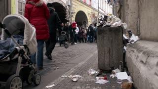 Garbage on the Street of Prague Czech Republic