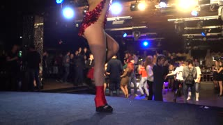 Girl dancing ass naked - go-go dancer - PJ in a disco in nightclub