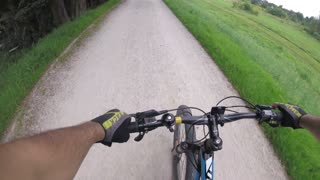 GoPro on a Helmet - riding Bicycle through summer Nature on Poland country