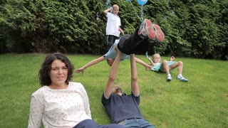 Happy big european Family with three kids play in the Summer Park
