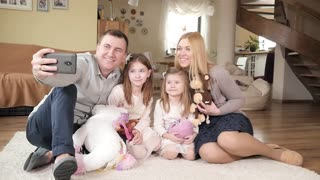Happy Big Family with Kids make Selfie Photo with Smartphone at Home Living Room