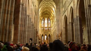 Interior of the Gothic church in Prague