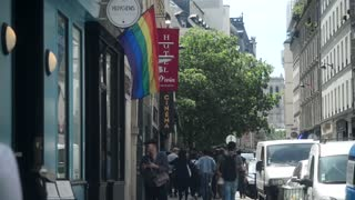 LGBTQ Gay Quarter in Paris. LGBT rainbow flag on the street