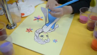 Little Girl Painting And Drawing a Princess different Colors - Art Therapy