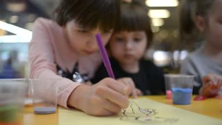 Little Girls Painting And Drawing different Colors - Art Therapy