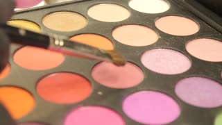 Makeup Eye Shadow Palette In Many Different Colors, Brush Brushing