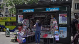 Newsstand sales of newspapers and magazines press on Boulevard de Clichy in Pari