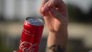 Opening Aluminum Can - Drinking Soda Coca Cola