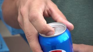 Opening Aluminum Can - Drinking Soda Pepsi