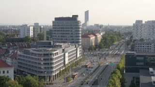 Overhead View Of The City Wroclaw - Panorama of Streets and Traffic