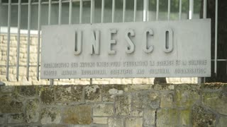 Paris, France Shot Of Unesco Sign Board And Headquarters