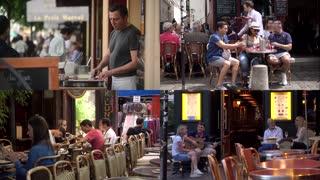 Paris Latin Quarter - people sitting at the tables cozy modest cafe restaurant