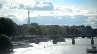 Paris view of river Seine and the Eiffel tour - Summer Day