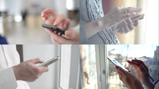 People Use A Mobile Smart Phone by the window, browse Network
