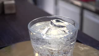 Pure water with Ice Cubes in a Glass