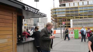Starbucks Coffee Cafeteria on the street of Berlin, Germany autumn