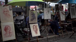 Street artists and portraits gallery on Montmartre Paris