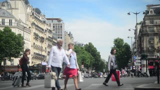 Traffic and pedestrian on the Street in Paris 2017