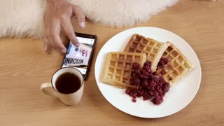 Using Mobile Smart Phone to Browse Social Network, Breakfast Plate of Waffles