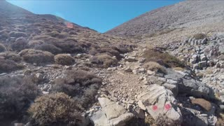 Walking hiking with GoPro Camera on a Mountain rocky Path on island of Crete