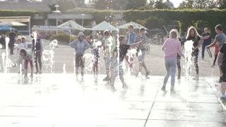 Water Fountain Splash, Children Kids Run through And Play with Water