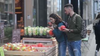 Young people buying a healthy Food on the Street of Berlin
