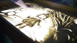 View Of Woman Finger Drawing Beautiful Picture By Sand. Art. Creative. Lighting & View Of Woman Finger Drawing Beautiful Picture By Sand. Art ... azcodes.com