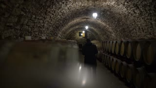 Winemaker counts barrels of wine in Wine Cellar With Many Wine Barrels