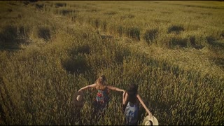 aerial. girls is walking along the high grass in the meadow. two young women in village dresses throw up straw hats. view from above. slow motion
