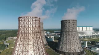 aerial view on the working Power station. Cooling tower of nuclear power plant. coal-burning power plant