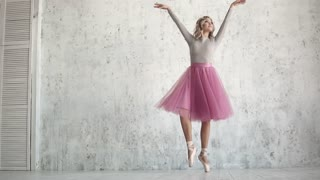 ballerina in a pink tutu and pointe dance of classical ballet