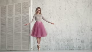 ballet dancer spinning on her toes in Pointe shoes and classical tutu. ballerina dances classical ballet